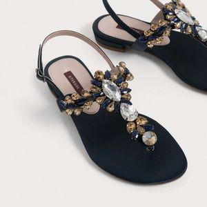 Uterque Joya Navy Satin Thong Bejeweled Sandals 41